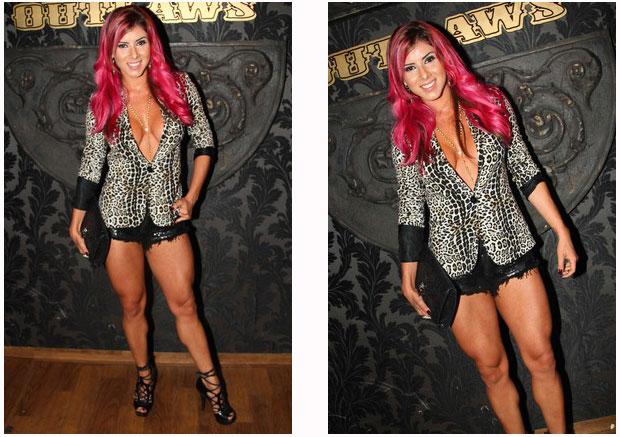Thais Bianca com um lindo decote e suas belas pernas saradas