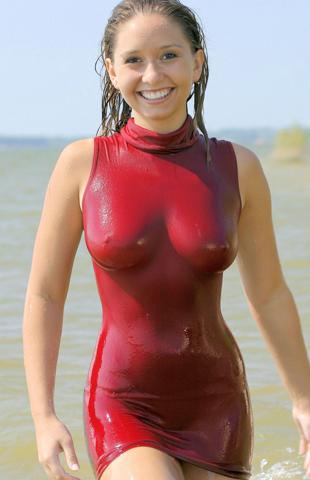 Hot-Girl-in-a-wet-red-dress-with-huge-boobs