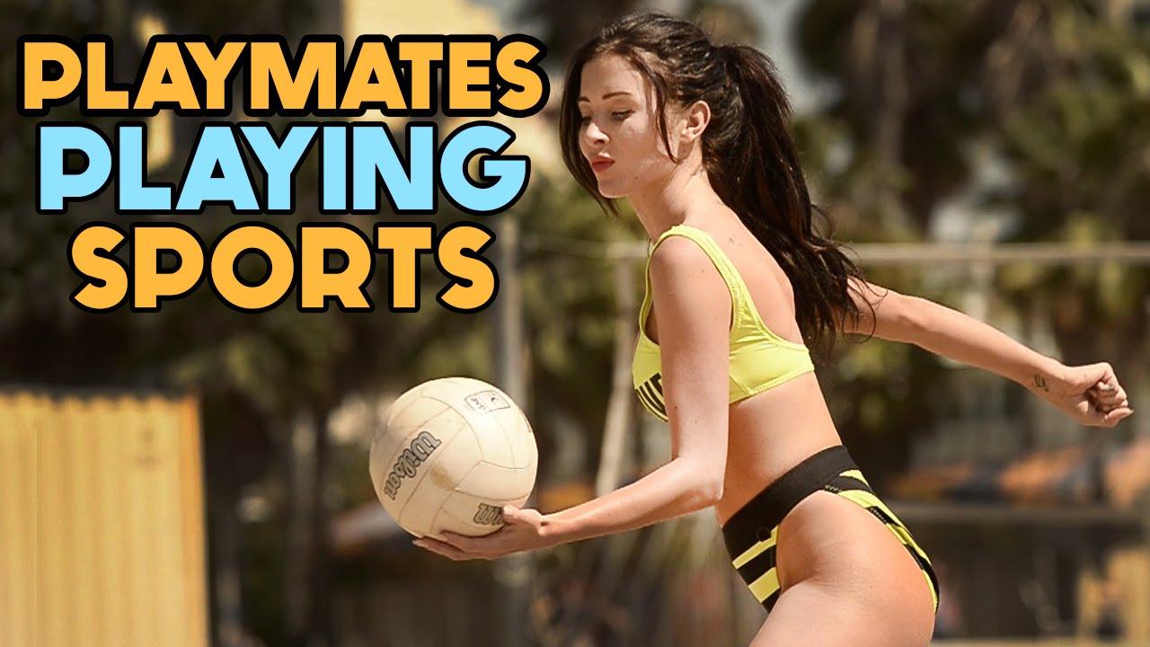 Playmates praticando esportes sexys em slow-motion